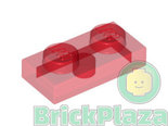 LEGO-Plaat-1x2-transparant-rood-6225-4201019