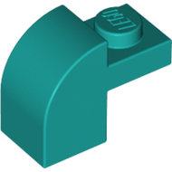LEGO Dark Turquoise Brick, Modified 1 x 2 x 1 1/3 with Curved Top 6091 - 6213785