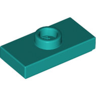 LEGO Dark Turquoise Plate, Modified 1 x 2 with 1 Stud with Groove and Bottom Stud Holder (Jumper) 15573 - 6210399