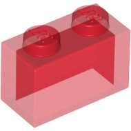 LEGO Trans-Red Brick 1 x 2 without Bottom Tube 3065 - 306541