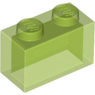LEGO Trans-Bright Green Brick 1 x 2 without Bottom Tube 3065 - 4642409